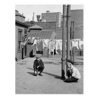 Muchachos que juegan los mármoles, 1900s tempranos tarjetas postales