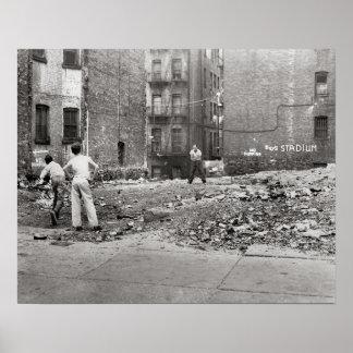 Muchachos que juegan Sandlot Ball, 1954 Póster