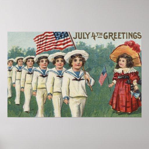 Muchachos que marchan vestidos como marineros póster
