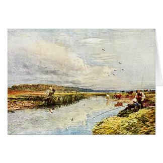 Muchachos que pescan - tarjeta de la pintura de la