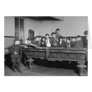 Muchachos que tiran a Pool, 1909 Tarjeta De Felicitación