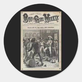 Muchachos y chicas 1880 semanal pegatina redonda