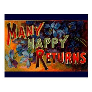 Muchas devoluciones felices tarjeta postal