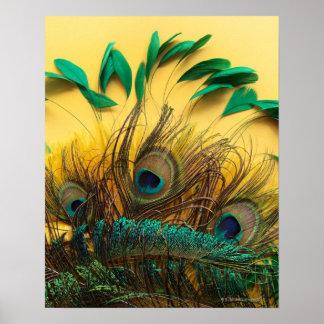 Muchas diversas clases de plumas en un amarillo posters
