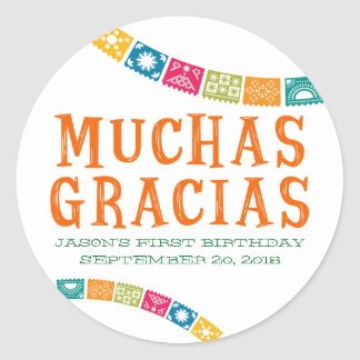 MUCHAS GRACIAS - THANK YOU PARTY FAVORS CLASSIC ROUND STICKER