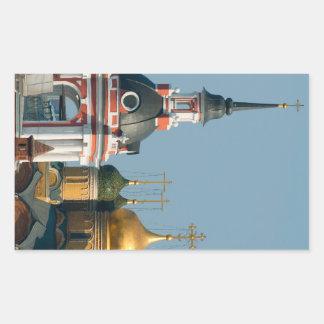 Muchas iglesias ortodoxas rusas en el centro de rectangular pegatinas