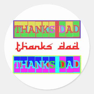 """Muchas maneras de decir al """"papá de las gracias"""": pegatina redonda"""