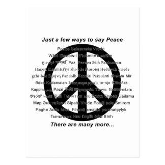 Muchas maneras de decir paz con símbolo postal
