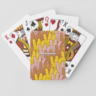 Muchas manos hacen el modelo de trabajo ligero baraja de cartas