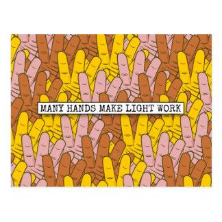 Muchas manos hacen el modelo de trabajo ligero postales