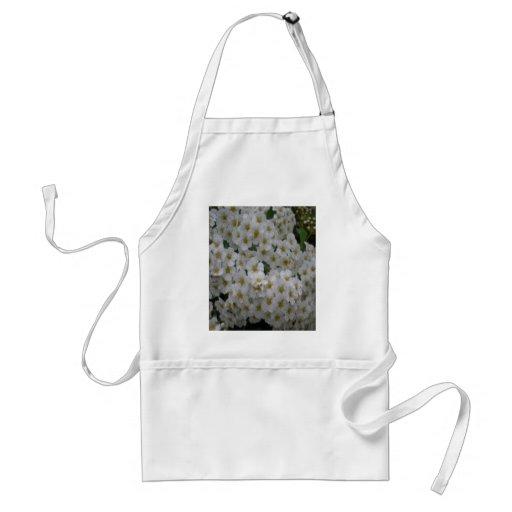 muchas pequeñas flores, blancas delantal