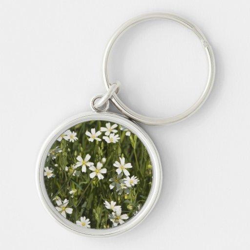 Muchas pequeñas flores blancas en un campo verde llavero redondo plateado
