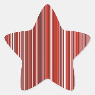 Muchas tiras multicolores en el modelo rojo pegatina en forma de estrella
