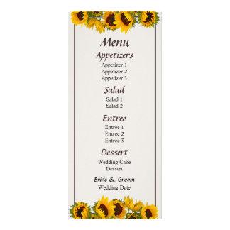 Muchedumbre de menú de los girasoles… tarjeta publicitaria