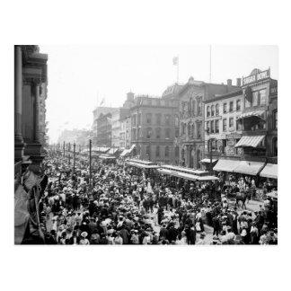 Muchedumbre del Día del Trabajo, búfalo, NY: 1900 Postal