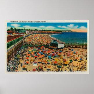 Muchedumbres en la playa, Santa CruzSanta Cruz, CA Impresiones