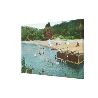 Muchedumbres que nadan en el río ruso impresion de lienzo