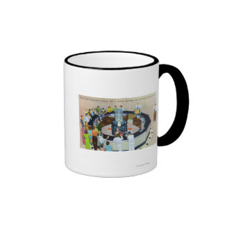 Muchedumbres que recolectan en las fuentes en Pasi Tazas De Café