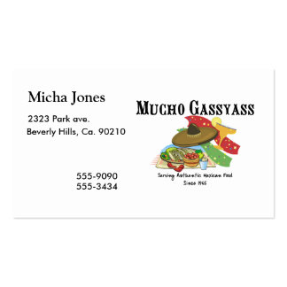 Mucho Gassyass Mexican Food Double-Sided Standard Business Cards (Pack Of 100)