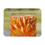 Mucho goldfish que están en el envase de cristal imán