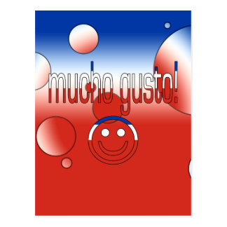 Mucho Gusto! Chile Flag Colors Pop Art Postcard