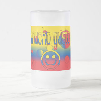 Mucho Gusto! Ecuador Flag Colors Pop Art Frosted Glass Beer Mug