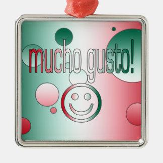 Mucho Gusto! Mexico Flag Colors Pop Art Christmas Tree Ornaments