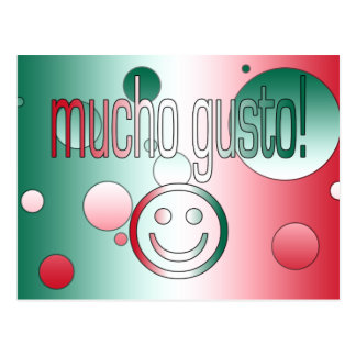Mucho Gusto! Mexico Flag Colors Pop Art Postcard