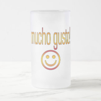 Mucho Gusto! Spain Flag Colors Frosted Glass Beer Mug
