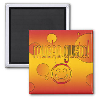 Mucho Gusto! Spain Flag Colors Pop Art Refrigerator Magnet