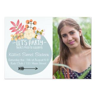 """Mucho para celebrar al fiesta floral invita invitación 5"""" x 7"""""""
