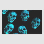 muchos cráneos, azules pegatina rectangular