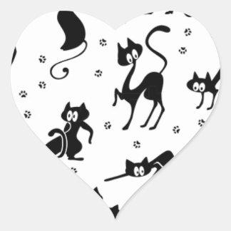 muchos gatos negros inconsútiles pegatina en forma de corazón