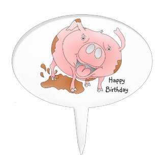 Mucky pink pig cake topper