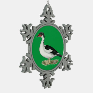 Mucovy Black Pied Duck Snowflake Pewter Christmas Ornament