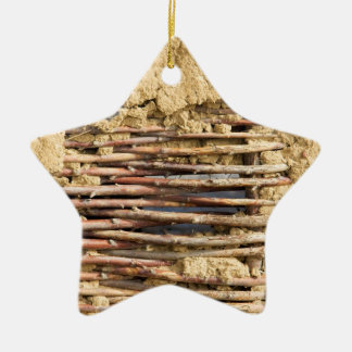 Mud and wattle wall ceramic ornament