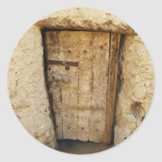 Mud Brick House with old Door  Siwa Oasis, Egypt Classic Round Sticker