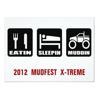 Mud Fest 4x4 Truck Mudding  Event 4.5x6.25 Paper Invitation Card