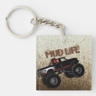 Mud Life Mud Bogging Black Truck Keychain