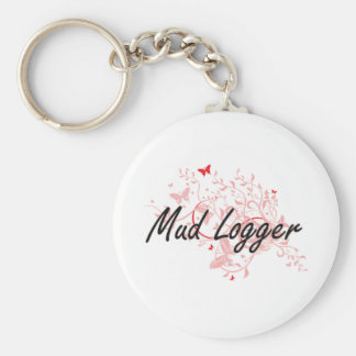 Mud Logger Artistic Job Design with Butterflies Keychain
