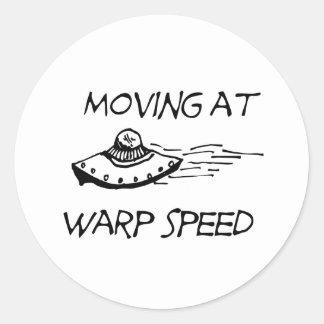 Mudanza a la velocidad de la deformación pegatina redonda