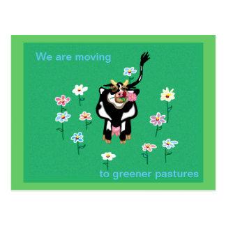 Mudanza a pastos más verdes postal