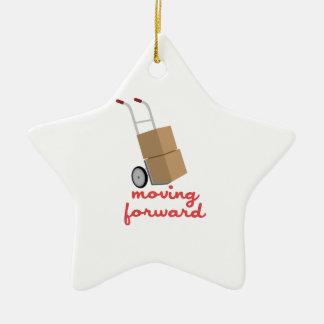 Mudanza adelante adorno navideño de cerámica en forma de estrella