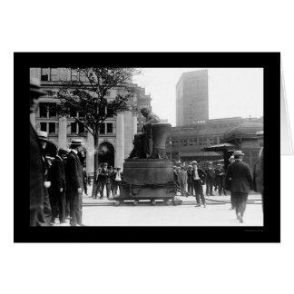 Mudanza de la estatua 1915 de Horacio Greeley Tarjetón