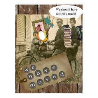 Mudanza encendido de una bicicleta tarjetas postales