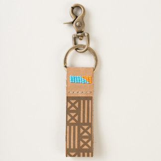 MudCloth Inspired Tiling Tan Brown Textile Keychain