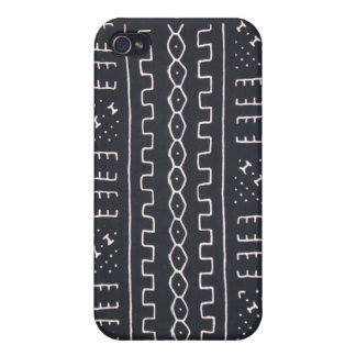 Mudcloth negro y blanco iPhone 4/4S funda