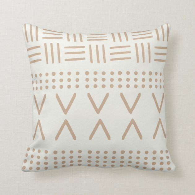 Mudcloth Pattern Pillow Tan On Cream Boho Modern Throw Pillow Zazzle Com