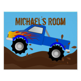 Muddy Blue Monster Truck Personalized Poster