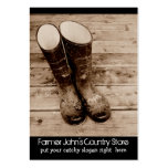 Muddy Gumboots for Farmers Country Store Large Business Cards (Pack Of 100)